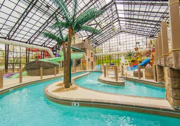 Pirate's Cay Indoor Waterpark lazy river at Fox River Resort in Sheridan, Illinois.