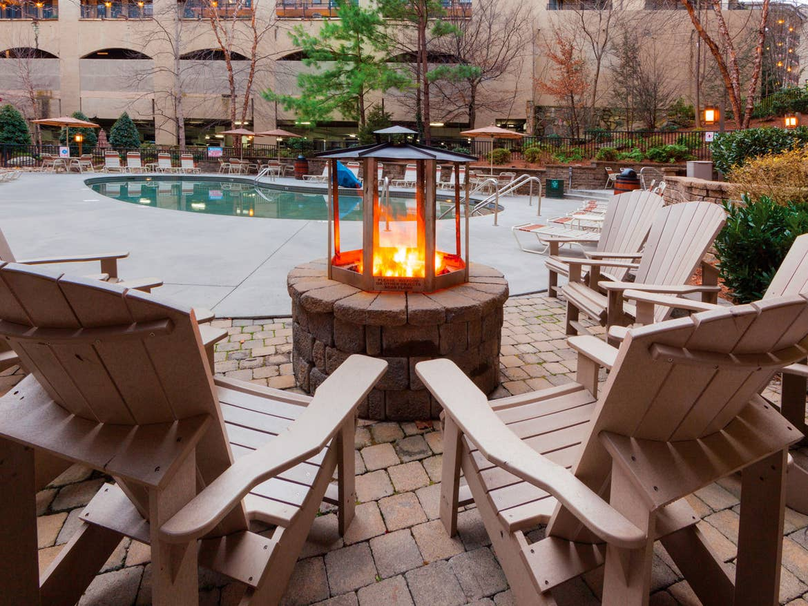 The outdoor firepit near the pool at our Smoky Mountain Resort in Gatlinburg, TN.