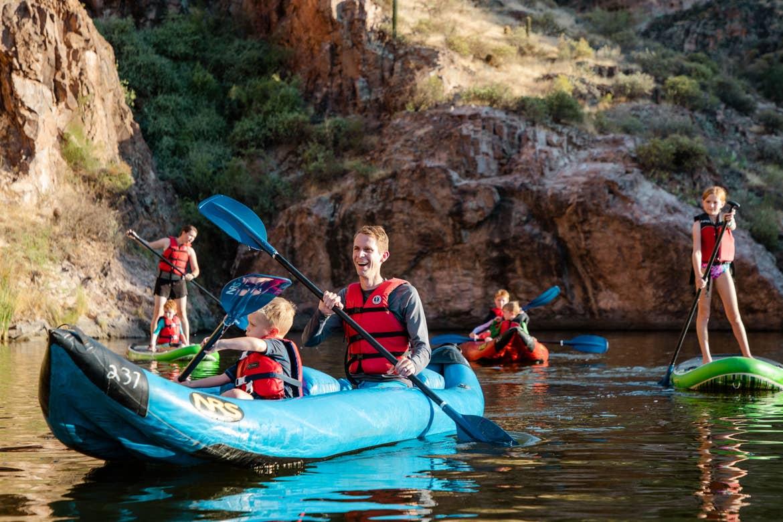 The Averett family utilizing various modes of water transportations at Canyon Lake.