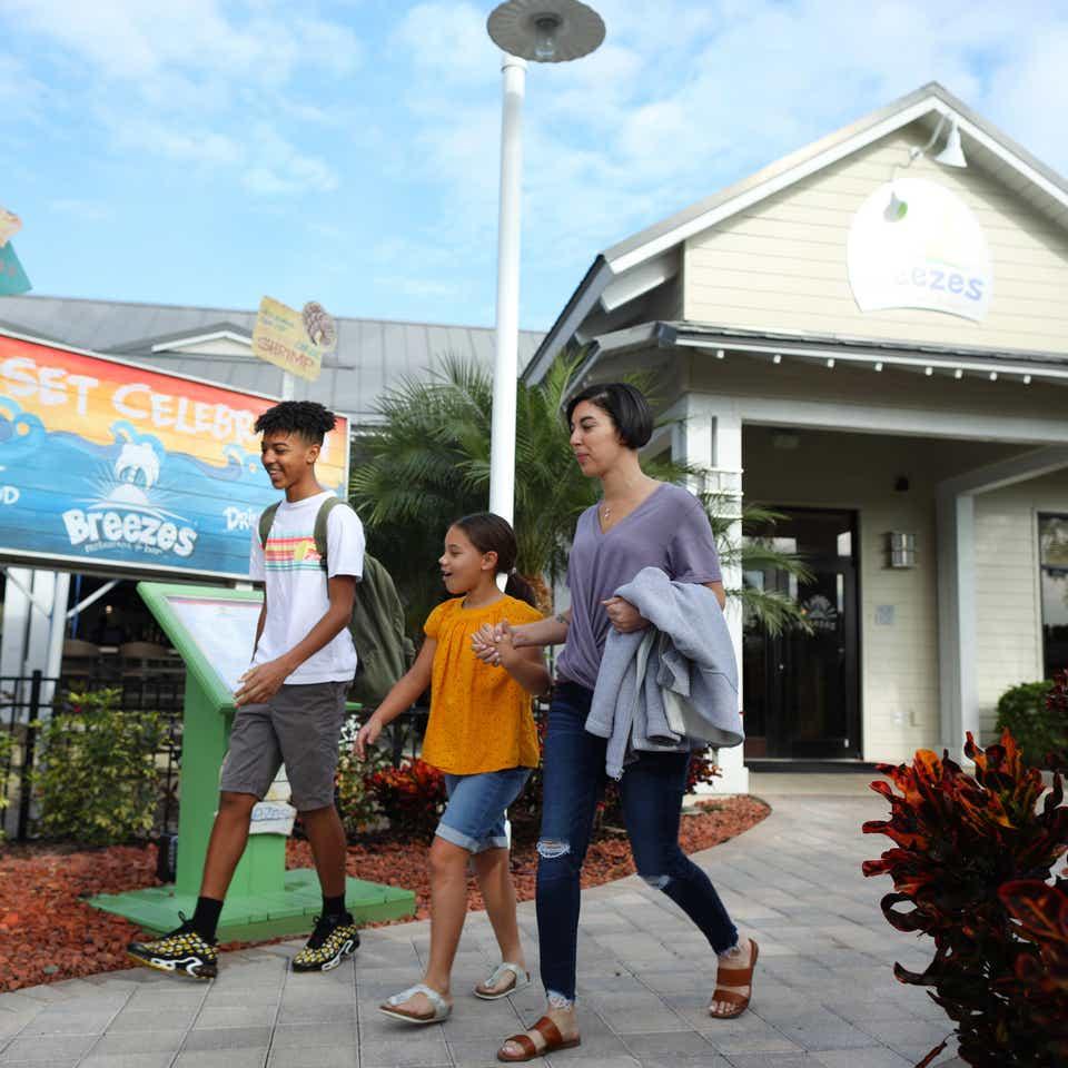 Exterior view of Breezes Restaurant in West Village at Orange Lake Resort near Orlando, Florida