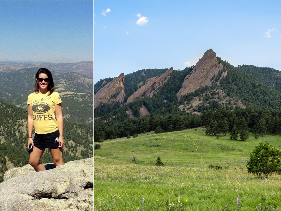 Collage of Jenn on the Flatirons and a view of the mountain