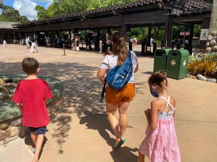 Ben's family entering the park