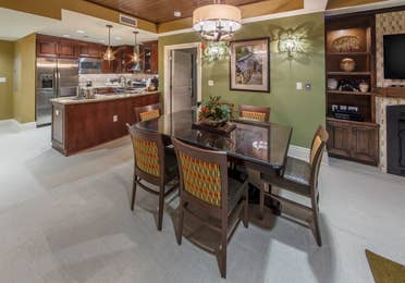 Dining area in a Signature Collection villa at Smoky Mountain Resort in Gatlinburg, Tennessee.