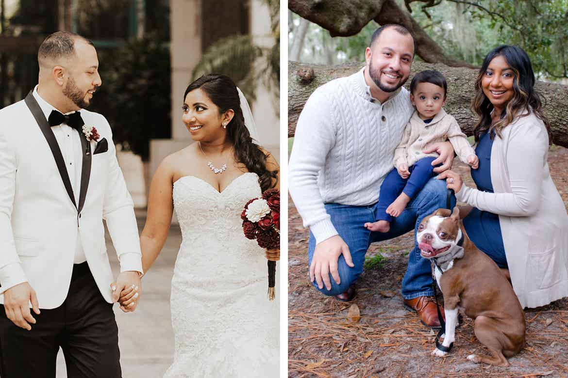Left: Featured contributor, Alex Cruz (left) wears a white tuxedo as he walks with his wife in a white wedding dress. Right: Featured contributor, Alex Cruz (left) poses with his wife, son and dog outdoors wearing sweaters in beige.