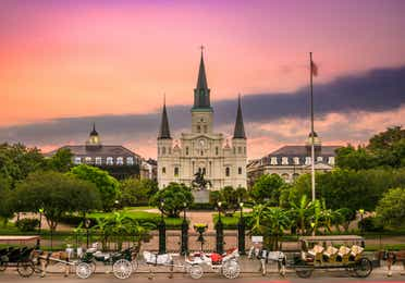 St. Louis Cathedral in Jackson Square at sunset in New Orleans.
