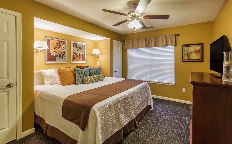 Bedroom in a three-bedroom ambassador villa at the Holiday Hills Resort in Branson Missouri.