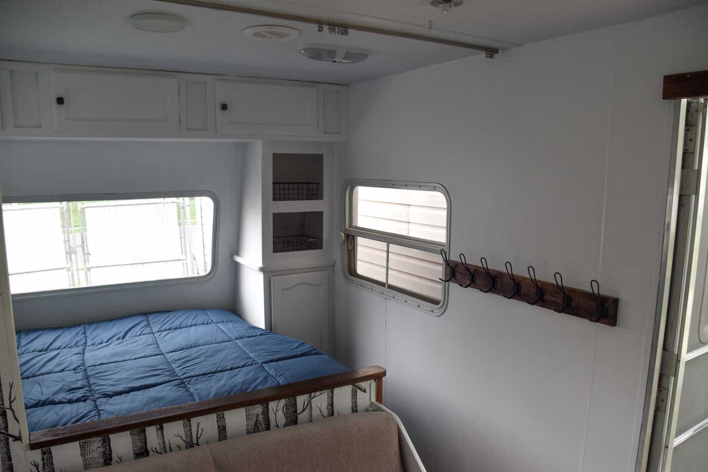 A bedroom in Jessica's RV