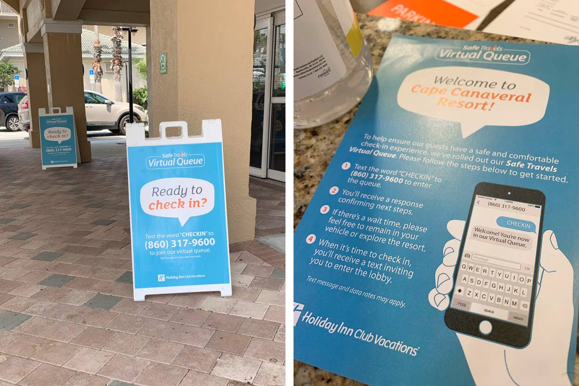Left: Outdoor signage indicates a virtual queue for guests to check in upon arrival. Right: An instructional guide for guests to join the virtual check  in queue.