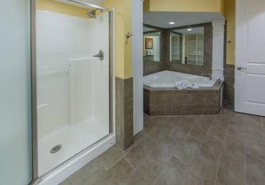 Bathroom in a two-bedroom presidential villa at Apple Mountain Resort