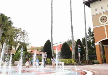 View of splash pad in North Village at Orange Lake Resort near Orlando, Florida