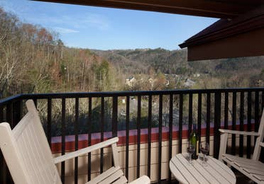 Balcony overlooking mountains at Smoky Mountain Resort in Gatlinburg, Tennessee.