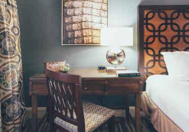 Closeup of desk in bedroom in a Signature villa in River Island at Orange Lake Resort near Orlando, Florida