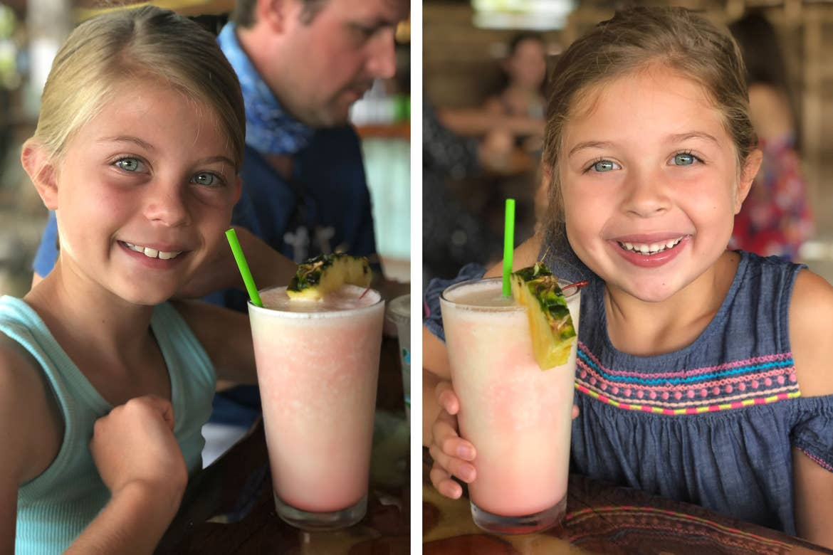 Featured Contributor, Chris Johnston's two daughters, Kyler (right) and Kyndall (left), drink virgin Pina Coladas.