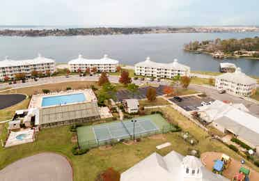 Aerial view of Piney Shores Resort in Conroe, Texas