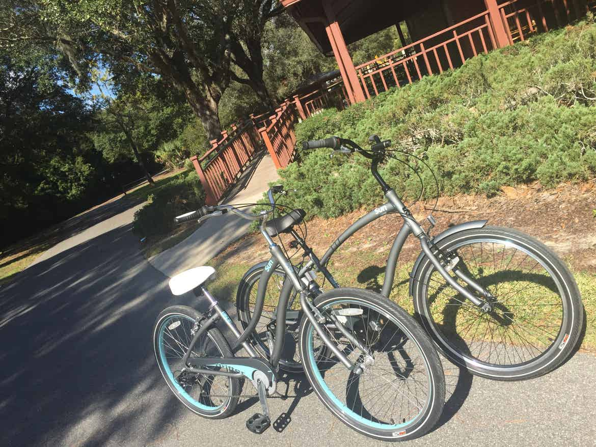 Two bicycles on a bike path