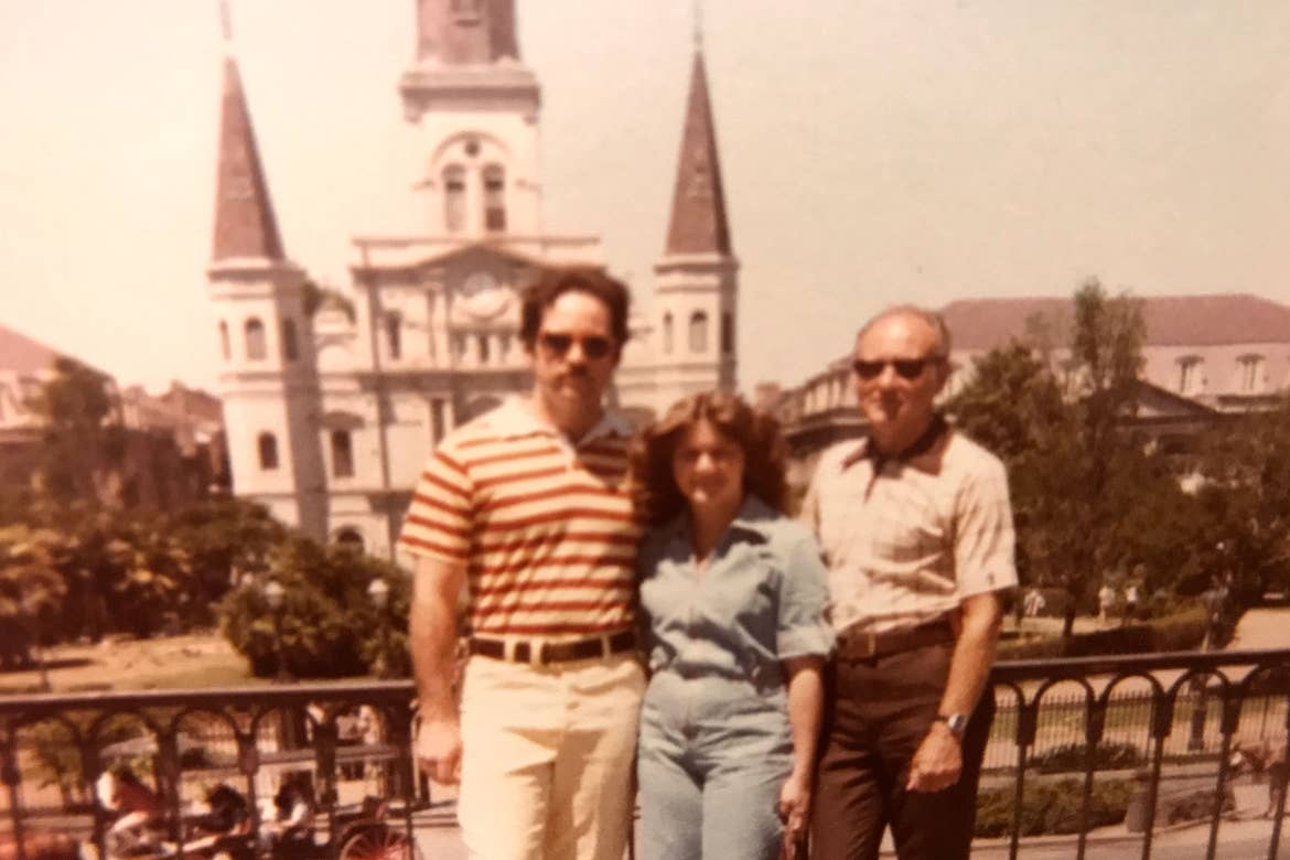 Author, Jennifer Harmon's parents and grandfather in front of Jackson Square in New Orleans.