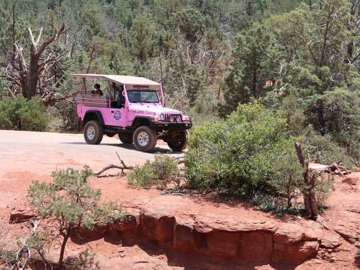 A Pink Jeep Tour parked in the desert with lush greenery and red clay surrounding it.