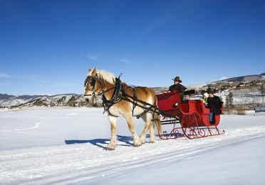 A horse-drawn sleigh is carrying a driver and two passengers in the snow with mountains in the background.