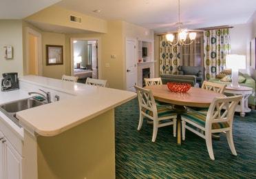 Dining room in a one-bedroom villa at South Beach Resort