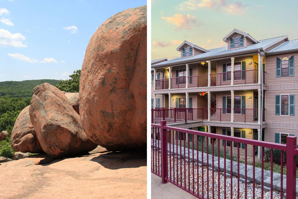 Left: Elephant Rocks State Park landscape with rocks. Right: Exterior shot of our Timber Creek Resort Villas.