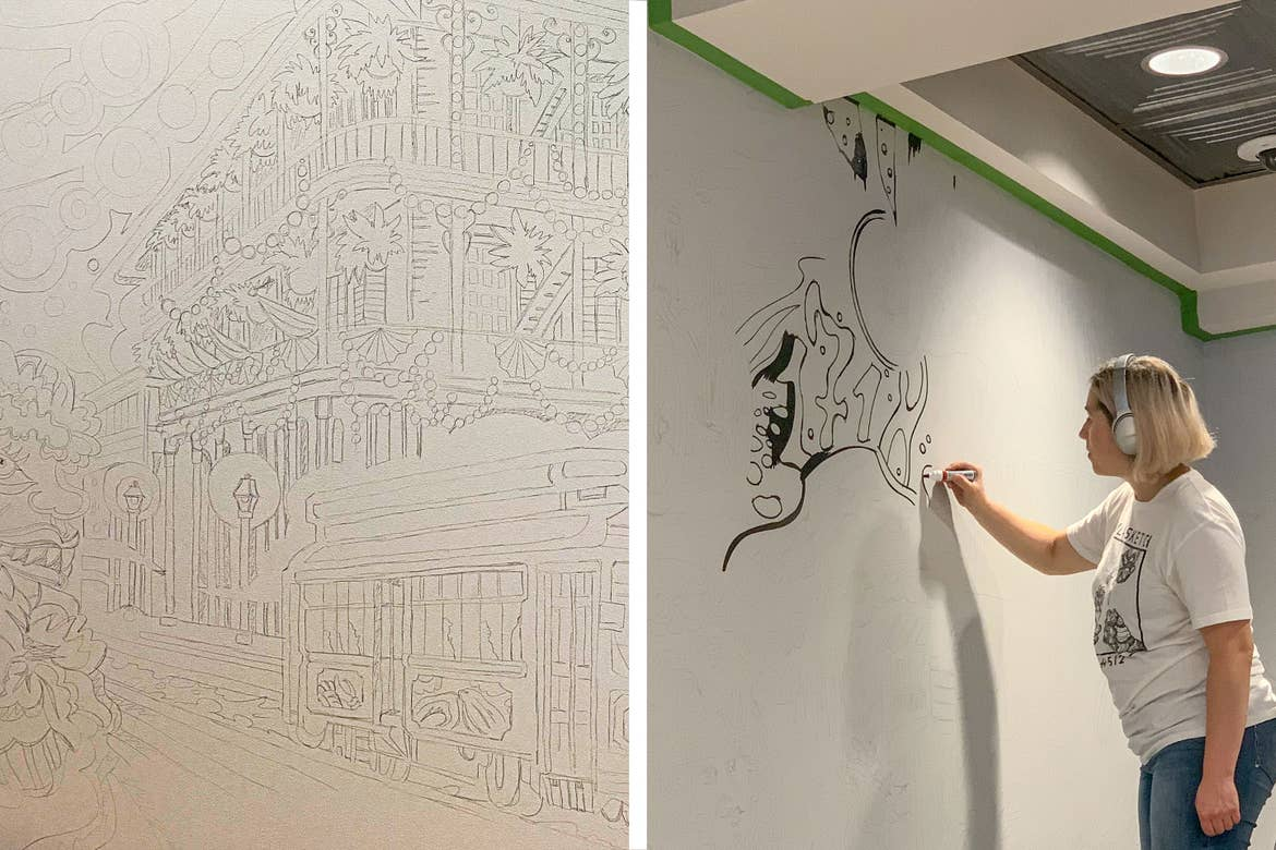 Left: An illustration of an iconic building on Bourbon St. drawn in pencil. Right: Muralist, Mila Sketch, wears headphones as she paints over her outlined mural art featured in the lobby of our resort in New Orleans, Louisiana.