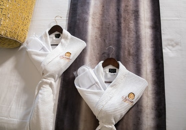 Closeup of complimentary robes in a Signature villa in River Island at Orange Lake Resort near Orlando, Florida