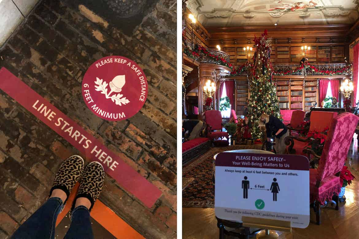 Left: Floor sign indicating Safety Measures for Social Distancing that reads, 'Line starts here, Please keep a safe distance, 6 Feet Minimum.'Right: The Library of the Biltmore Estate with fireplace and surrounded by red seating and Christmas trees.