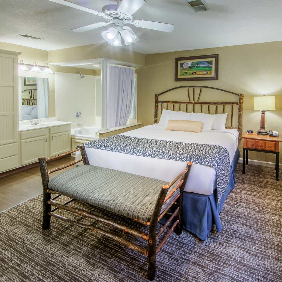 Master bedroom in a two bedroom villa at Oak n' Spruce Resort in South Lee, Massachusetts