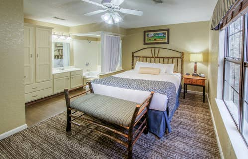 Master bedroom in a two bedroom villa at Oak n' Spruce Resort in South Lee, Massachusetts