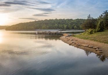 View of a lake at Ozark Mountain Resort in Kimberling City, MIssouri.