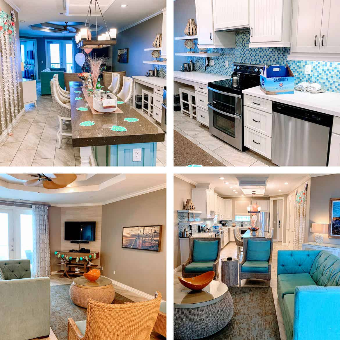 A collage of the interior of our Signature Collection villa at Galveston Beach Resort.