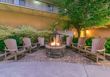 Chairs sat around a fire pit at Smoky Mountain Resort in Gatlinburg, TN.