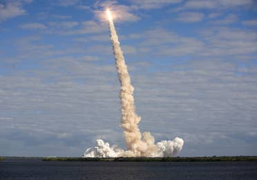 Rocket launching into the atmosphere