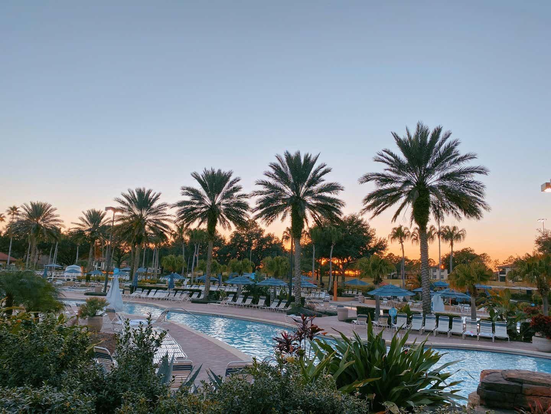 beautiful sunset overlooking the pool at Orange Lake Resort in Orlando, Florida