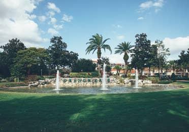 Fountain in River Island at Orange Lake Resort near Orlando, Florida