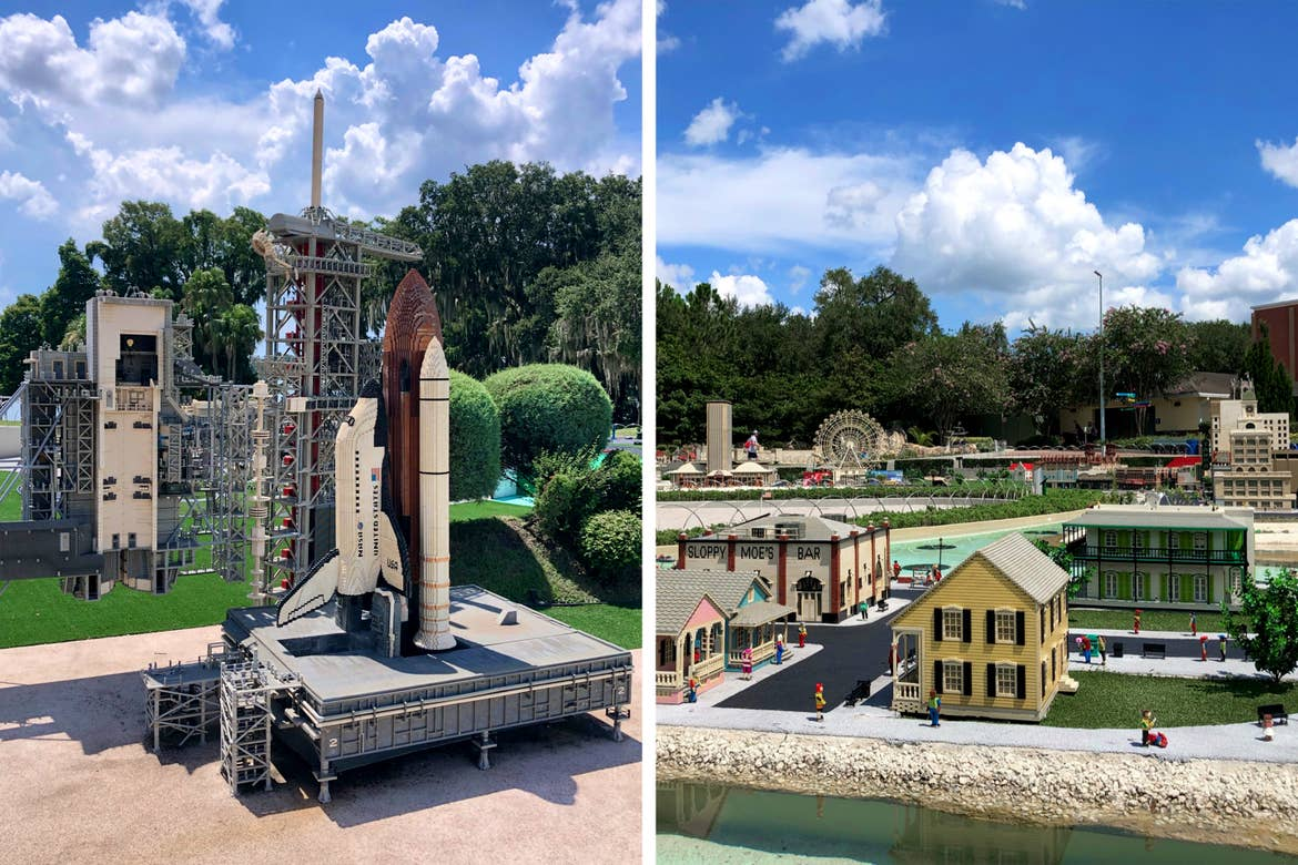 Left: A replica of a rocket launch pad made entirely of LEGOS. Right: A replica of Key West, Florida made entirely of LEGOS.