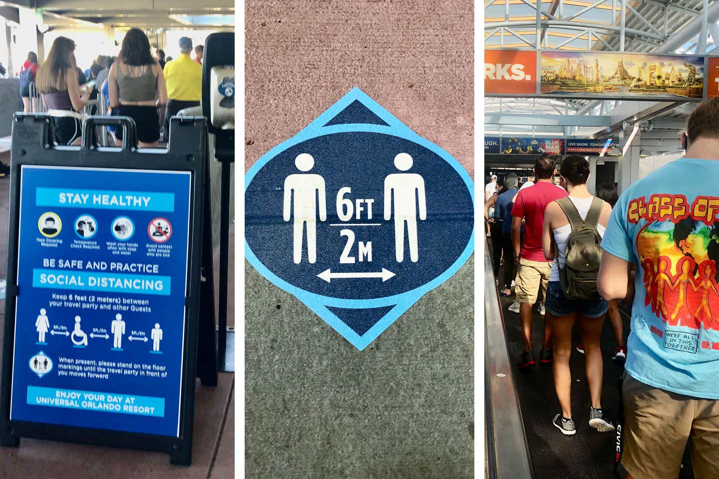 Left: Safety sign enforcing park Safety Measures. Center: decal on floor indicates guests maintain social distance of 6 ft. or 2 M. Right: Guests are lined up to receive temperature check prior to park entrance.