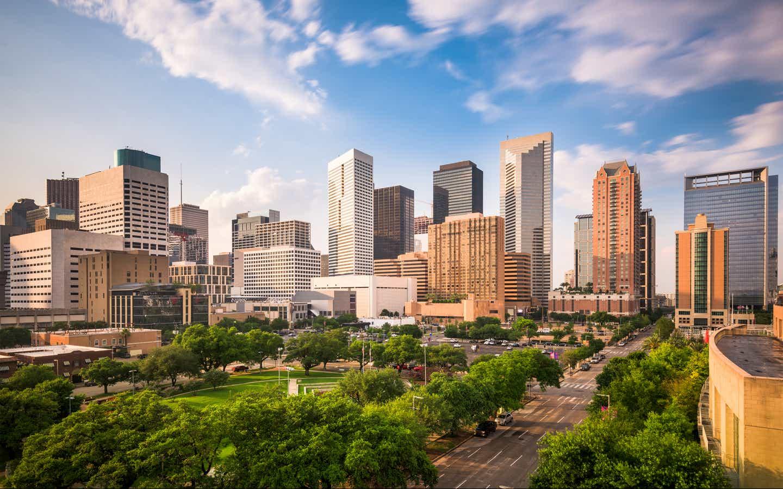 Skyline of Houston, Texas near Piney Shores Resort.