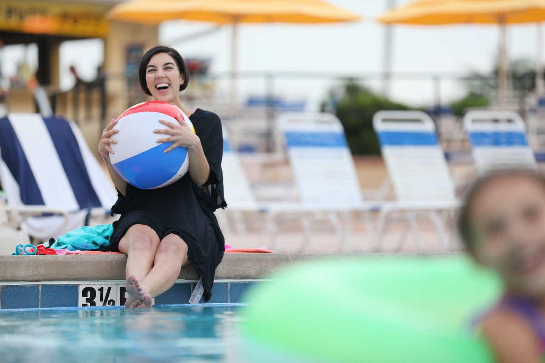 Clarissa enjoying the pool