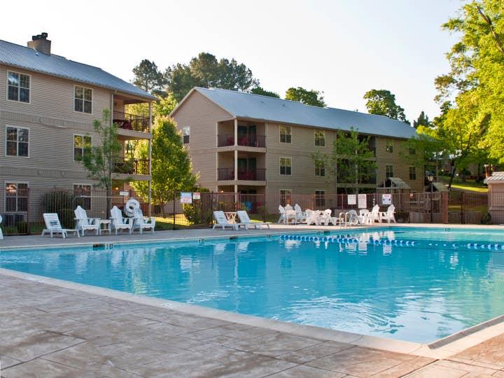 Outdoor pool at Villages Resort in Flint, Texas.