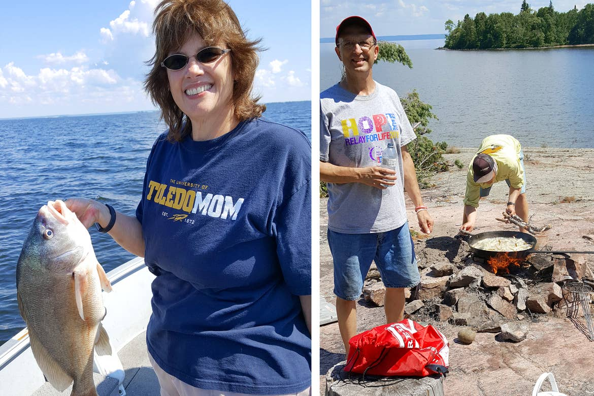 Left: A caucasian woman wearing a navy t-shirt holds a freshwater fish on a small white fishing boat. Right: two caucasian males stand on an overlook above Lake Nipissing in Canada preparing fish for a meal.