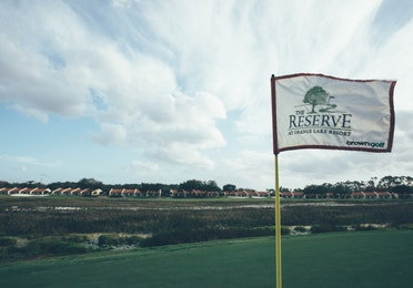 The Reserve golf course flag in West Village at Orange Lake Resort near Orlando, Florida
