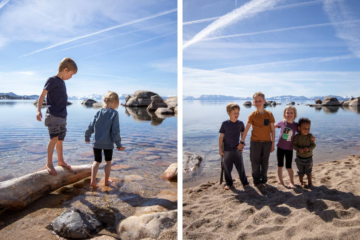 Left: Featured Contributor, Andrea Rassmussen's son and daughter dip their toes into the water at Sand Harbor in Nevada State Park. Right: All of the children pose on the beach.