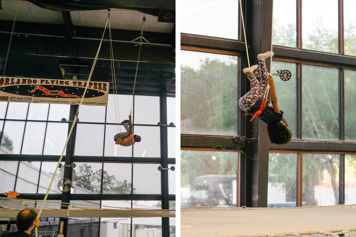 Left: Monet's husband wears a training harness during a Trapeze Class at the Orlando Circus School. Right: Monet's daughter joins the class wearing leggings and a training harness.