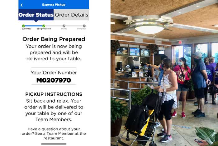 Left: Rona's mobile order status as seen in the Official Universal Orlando Resort™ App. Right: Guests wait in line to place their order.