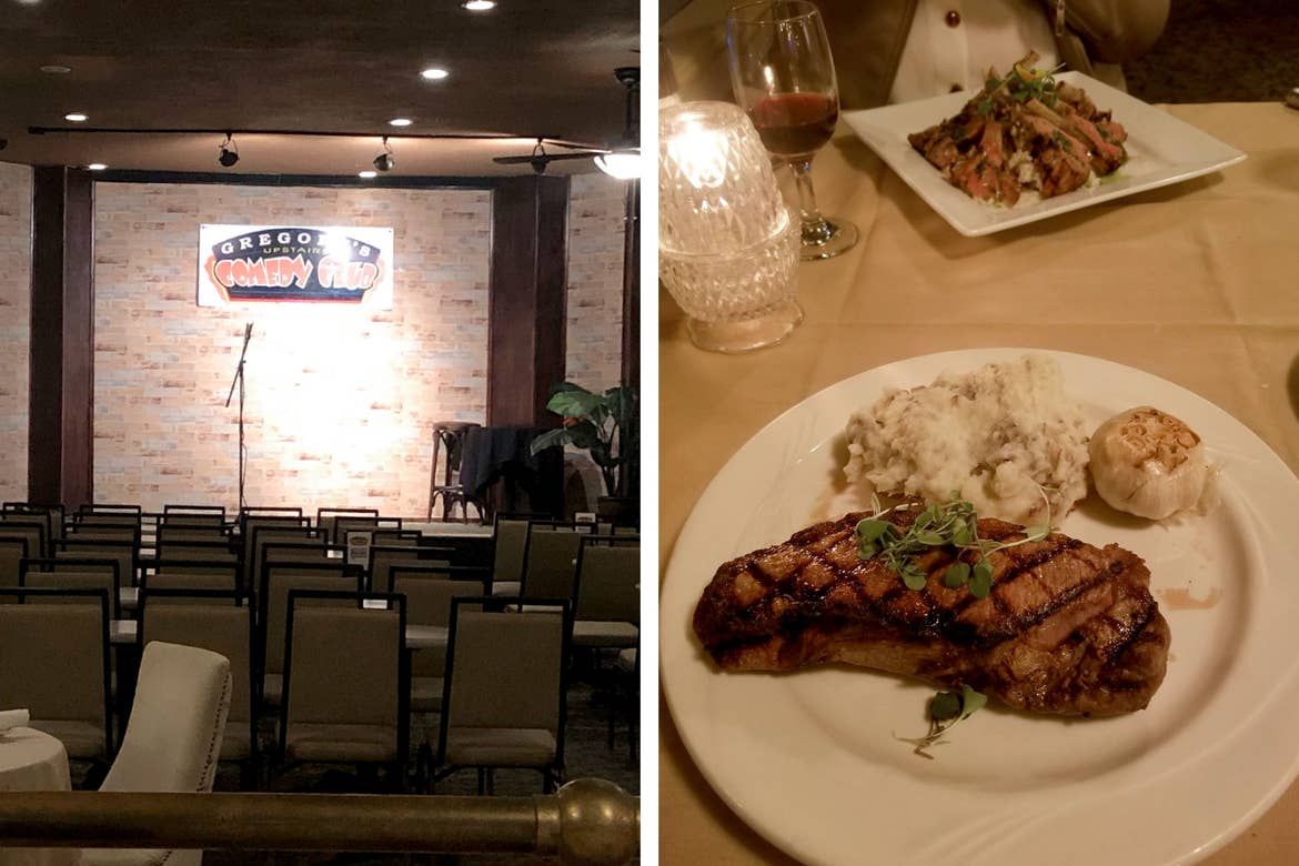 Left: A stage for the after-dinner comedy performers with a mic and sign that reads, 'Gregory's Upstairs Comedy Club.' Right: A white round dinner plate with steak (front) and a white square dinner plate with spare ribs (back) on a beige tablecloth with candlelight and a glass of red wine.