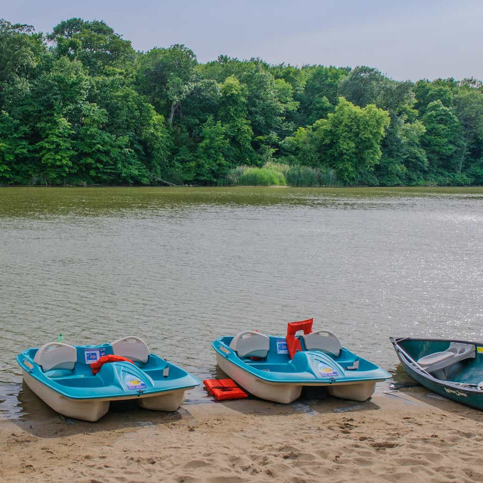 Paddle boats sitting on edge of river at Fox River Resort in Sheridan, Illinois.