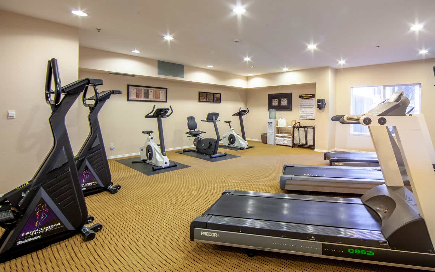 Fitness center with treadmills, ellipticals, and stationary bicycles at David Walley's Resort in Genoa, Nevada.