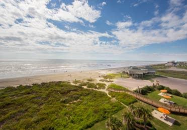 View of beach from Galveston Beach Resort property