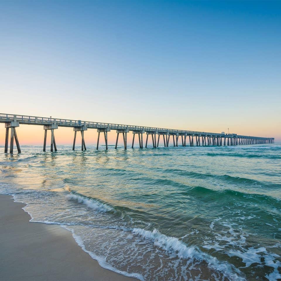 View of ocean at Panama City Beach in Florida.